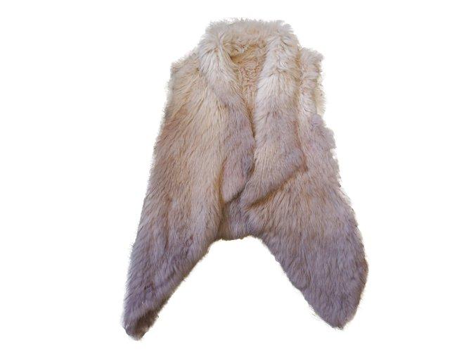 Yves Salomon Gilet Knitwear Fur Pink ref.26385