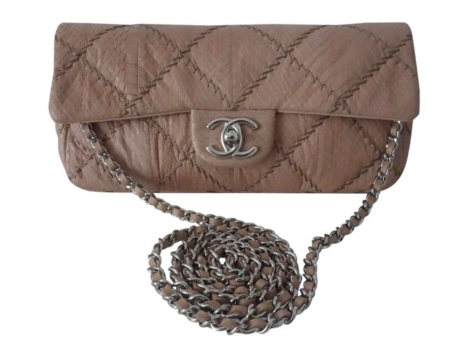 ecbde1756e5a57 Chanel MADEMOISELLE BAGUETTE Handbags Exotic leather Beige ref.26588 ...