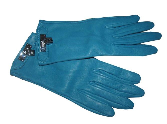 Hermès Gloves Gloves Leather Blue ref.26689