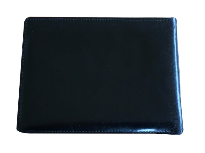 5d406ee2c315 Petite maroquinerie homme Hermès Portefeuille vintage Cuir Noir ref.26753
