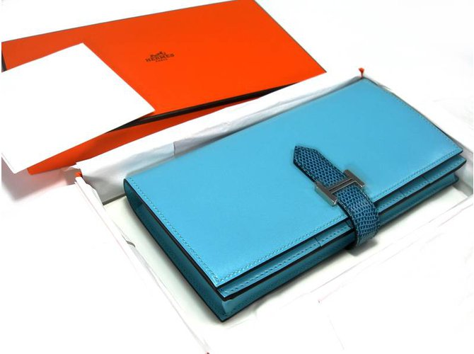 Hermès Béarn Soufflet Purses, wallets, cases Exotic leather Blue ref.26953