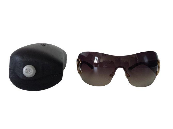 5feeff7209b5fd Lunettes Chanel Chanel, Lunettes de soleil masque Plastique Marron ref.27018