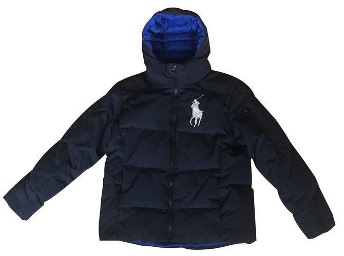 blousons manteaux gar on polo ralph lauren manteau gar on polyester bleu joli closet. Black Bedroom Furniture Sets. Home Design Ideas