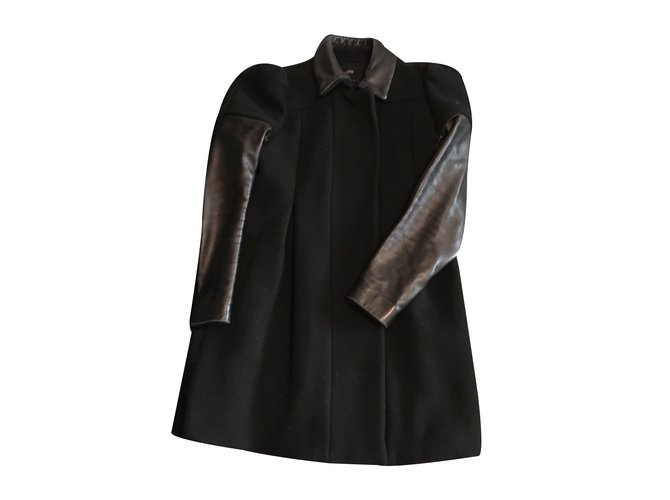 manteau noir manche cuir
