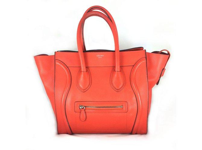 Sacs à main Céline Luggage Capucine Cuir Rouge ref.27432