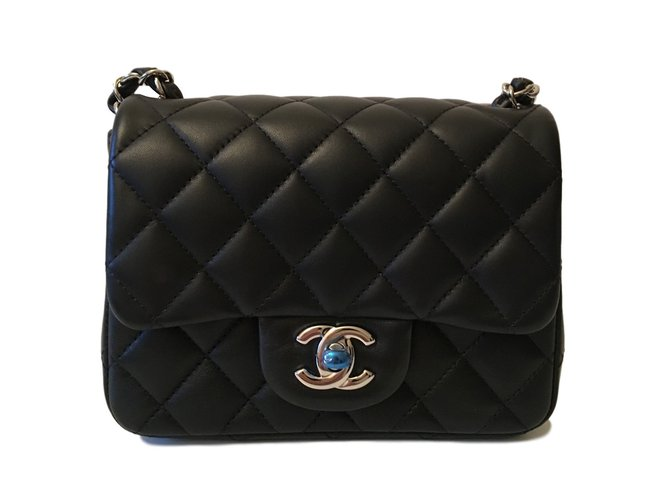 Sacs à main Chanel Timeless Mini Square cuir d'agneau Noir ref.27591
