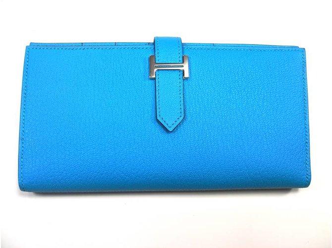 192f695604 Petite maroquinerie Hermès Portefeuille Béarn soufflet Cuir Bleu ref.27662