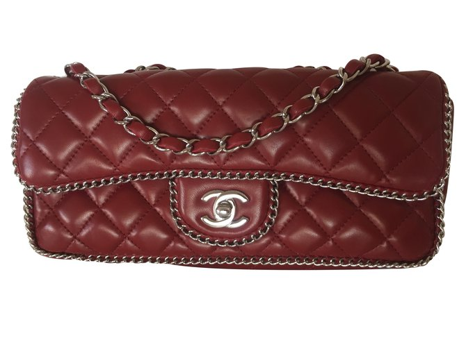 Chanel Handbag Handbags Leather Red ref.27664