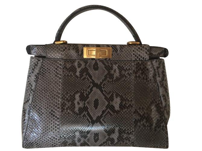 Fendi Handbag Handbags Exotic leather Black 8b23eb61cf2e1