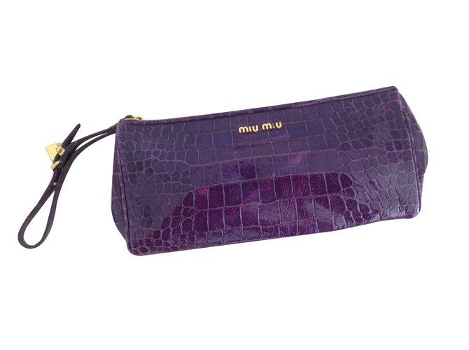 ... Miu Miu Cocco Lux Clutch bags Patent leather Purple ref.27730 fashion  styles d731b 740a9 ... 2ec6156c35
