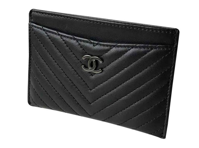 8594b88a3f5908 Chanel SO BLACK card holder Purses, wallets, cases Leather Black ref.28082