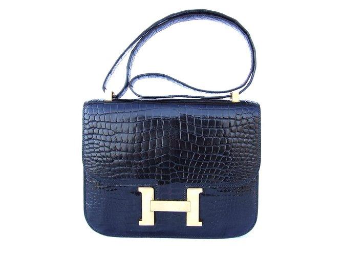 495c44c6594 Sacs à main Hermès Constance crocodile Cuirs exotiques Noir ref.28315
