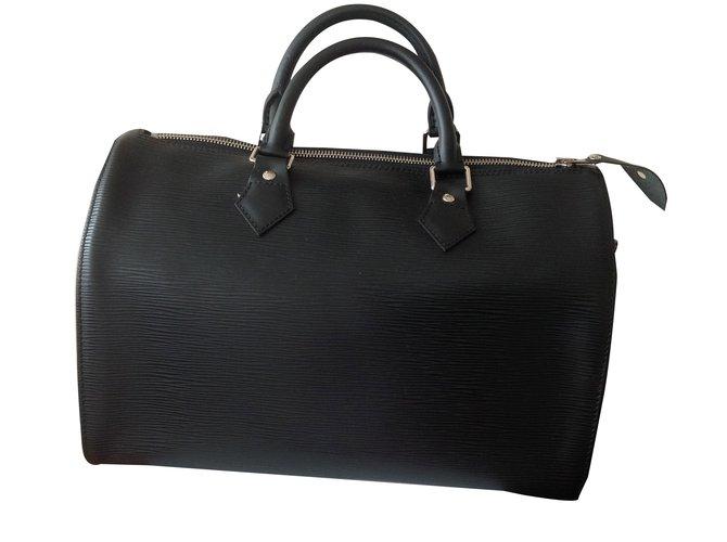 d88b6c59e11 Sacs à main Louis Vuitton Speedy cuir épi 35 MIXTE Cuir Noir ref.28380
