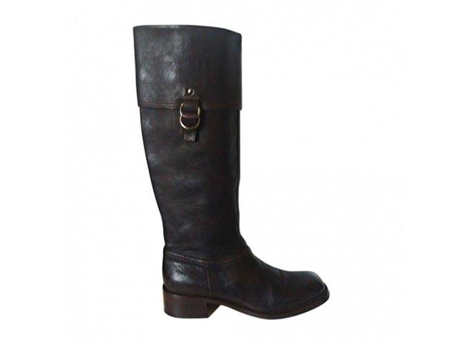 489298b2044c Miu Miu Boots Boots Leather Brown ref.28403 - Joli Closet