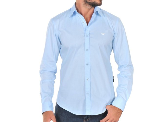 119c322aa1 Emporio Armani men s light blue casual fashion shirt nwt Shirts Cotton Blue  ref.28447