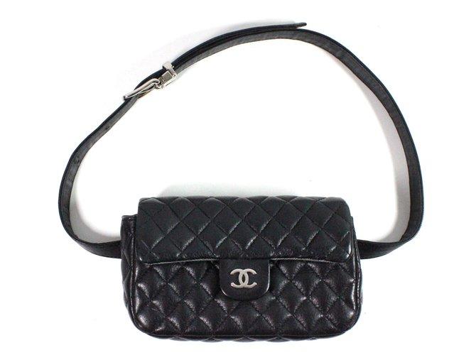 Pochettes Chanel Pochette ceinture Uniform Cuir Noir ref.28477