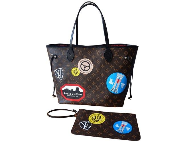 Sacs à main Louis Vuitton Neverfull World Tour Limited Edition Cuir Marron  ref.28611 bd08d078819