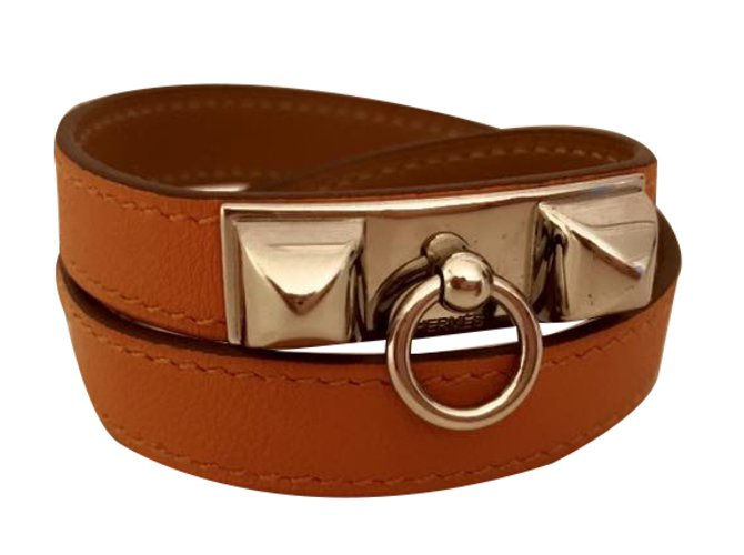 6a677a6a322 Hermès Rivale Double Tour Bracelet Bracelets Leather Orange ref.28655