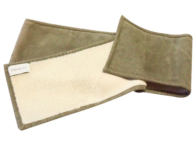 Yves Saint Laurent Scarf Men Scarves Leather Khaki ref.28759