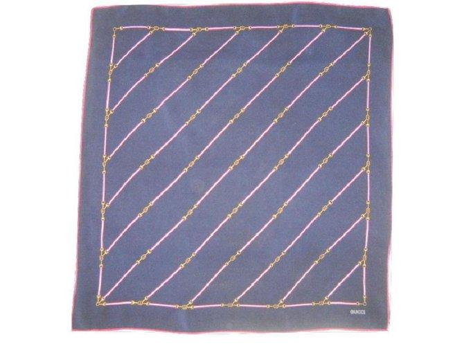 1ab750c4abfd Carrés Gucci Vintage foulard soie Soie Bleu,Gris,Bordeaux ref.28812 ...
