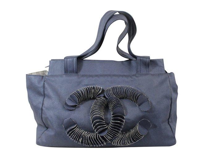 Chanel Handbag Handbags Cloth Blue ref.29502 - Joli Closet a01cfc0867c76