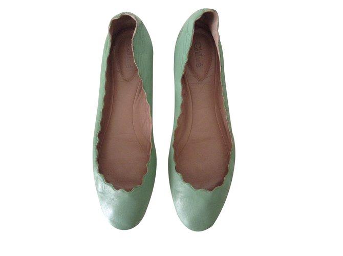 ab2e71c2f Chloé Ballet flats Ballet flats Leather Green ref.29604 - Joli Closet