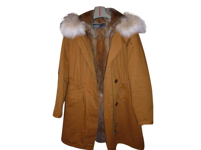 Yves Salomon Coat Coats, Outerwear Cotton Yellow,Caramel ref.29759