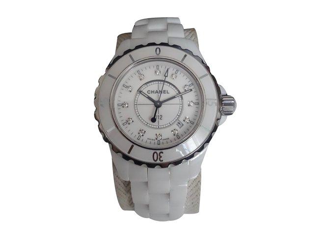 ad2ebefb135 Montres Chanel MONTRE CHANEL J12 INDEX DIAMANTS Céramique Blanc ref.29993