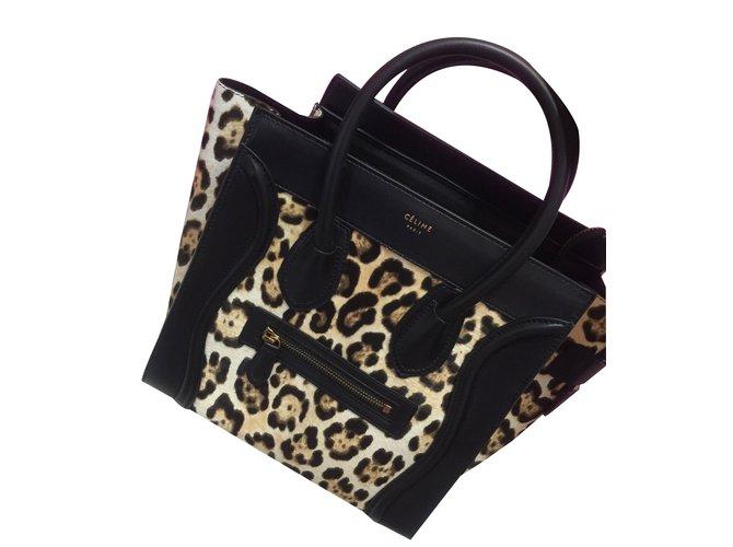 4779d09d84 Céline Micro Luggage pony style Handbags Leather Black ref.30049 ...