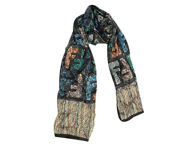 Foulards Fendi Foulard Soie Bleu ref.30215 - Joli Closet afb6fb366c4