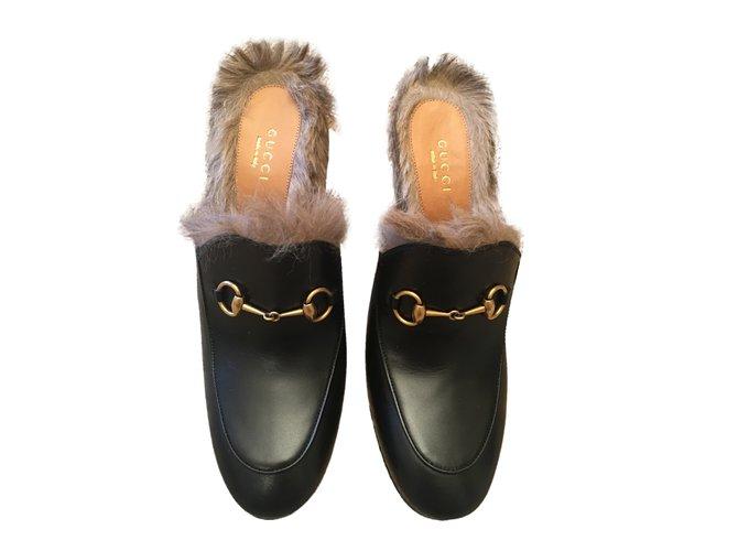 Mules Gucci Princetown Cuir Noir ref.30554