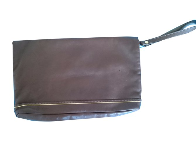 Longchamp Clutch Bag Bags Leather Taupe Ref 30601