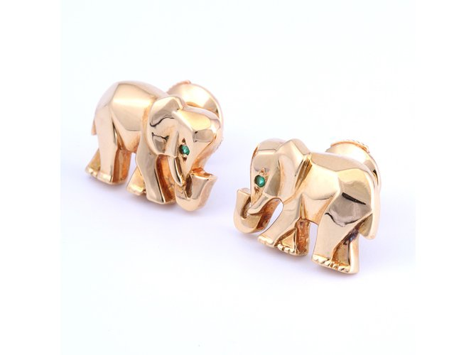 Cartier 18k Gold And Emerald Elephant Stud Earrings Golden Ref 30741