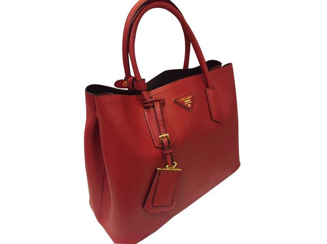 16eb8e9bac6e Prada Saffiano Double Bag Totes Leather Red ref.30772 - Joli Closet