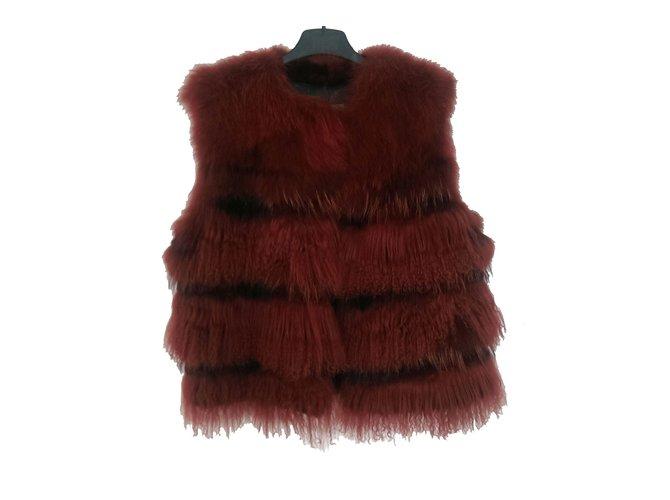Yves Salomon Gilet Knitwear Fur Cognac ref.30776