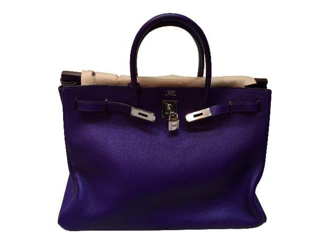 Hermès Birkin 40 Handbags Leather Purple ref.30813