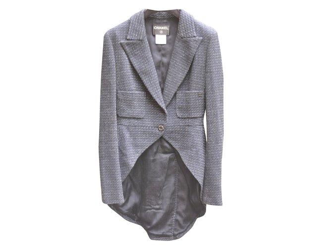Vestes Chanel veste redingote Tweed Bleu ref.30876