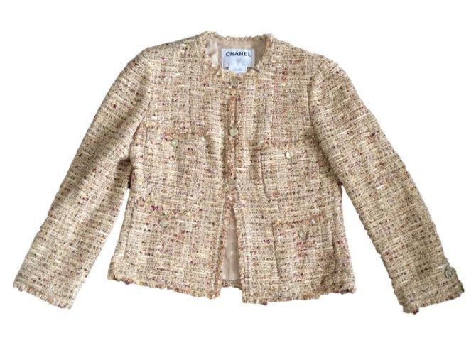 Vestes Chanel Vestes Coton Beige ref.30879