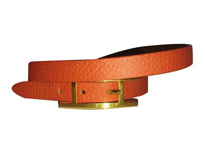 Bracelets Hermès Behapi double tour xs Cuir Orange ref.30884
