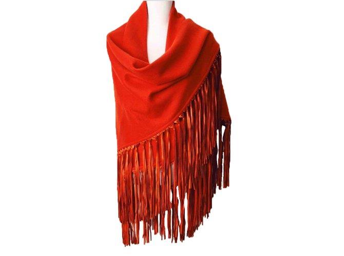 Foulards Hermès Foulard cachemire avec franges en cuir d'agneau Cachemire Orange ref.30891