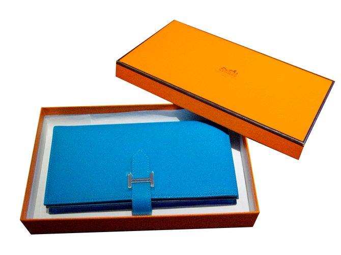 Portefeuilles Hermès Portefeuille Bearn Cuir Bleu ref.30922