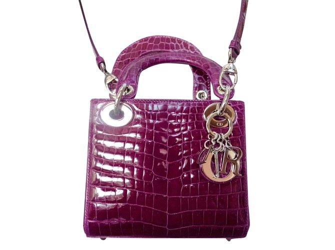 Sacs à main Dior Mini Lady Dior Cuirs exotiques Violet ref.30928