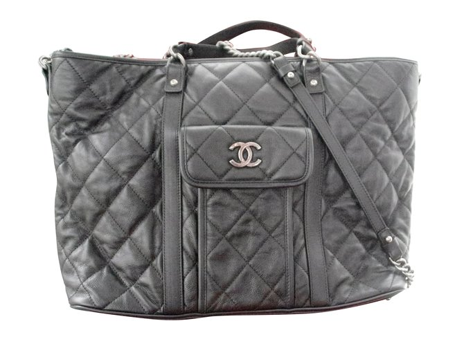 Cabas Chanel Grand Shopping Cuir Noir ref.30932