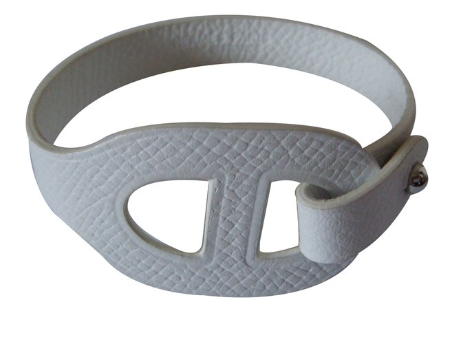 Bracelets Hermès Bracelet cuir Cuir Blanc ref.30993