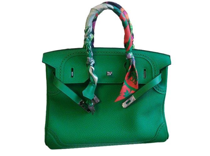 Sacs à main Hermès birkin ghillies 35 bambou Cuir Vert ref.31055