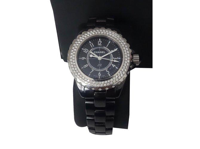 c81b4719f88 Montres Chanel MONTRE CHANEL J12 FULL DIAMANTS NOIRE Céramique Noir  ref.31178