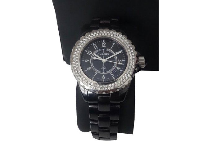 4be6c48f69c Chanel CHANEL J12 FULL DIAMANTS Fine watches Ceramic Black ref.31178 ...