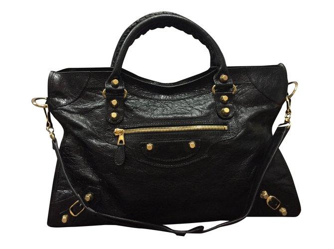 092298d60efa Balenciaga City giant 12 gold Handbags Leather Black ref.31208 ...