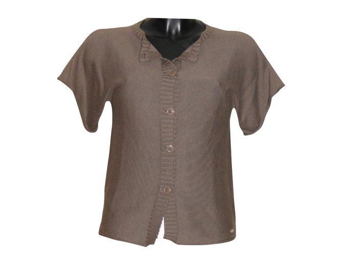 Chloé Gilet Knitwear Cotton Brown ref.31209