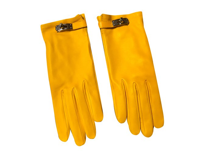 Hermès Gloves Gloves Leather Yellow ref.31384